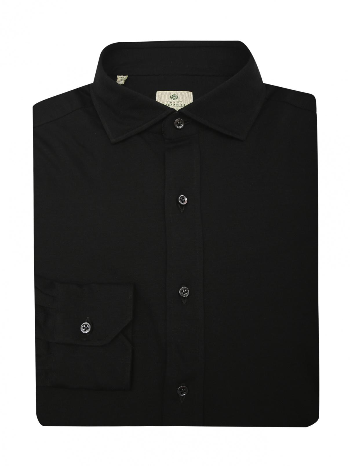 Рубашка из хлопка Borrelli  –  Общий вид  – Цвет:  Черный