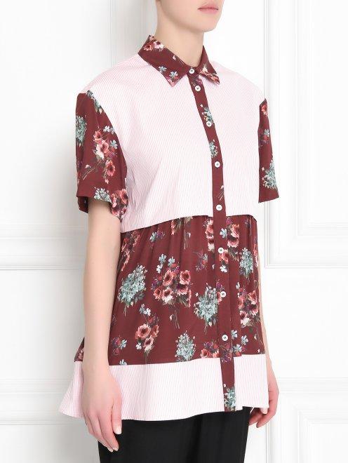 Блуза из хлопка и вискозы с контрастными вставками - МодельВерхНиз