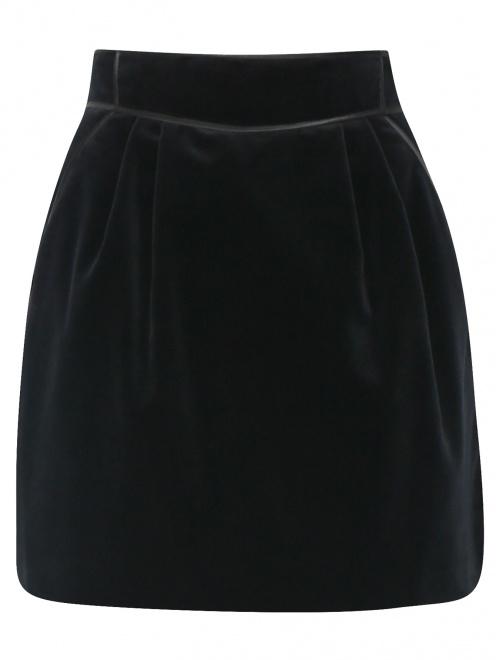 Юбка-мини из бархата с карманами - Общий вид