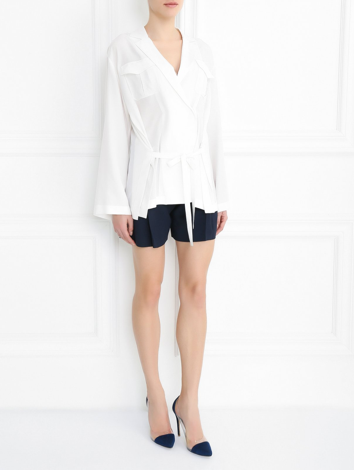 Шелковая блуза с запахом Alberta Ferretti  –  Модель Общий вид  – Цвет:  Белый