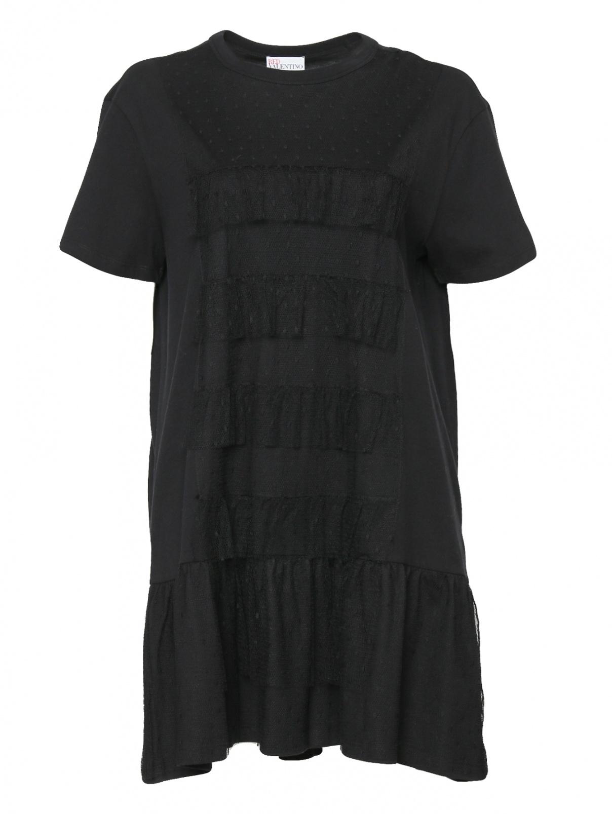 Платье-мини из хлопка свободного кроя Red Valentino  –  Общий вид