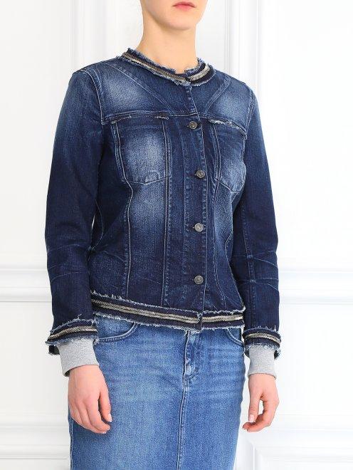 Джинсовая куртка декорированная стеклярусом - Модель Верх-Низ