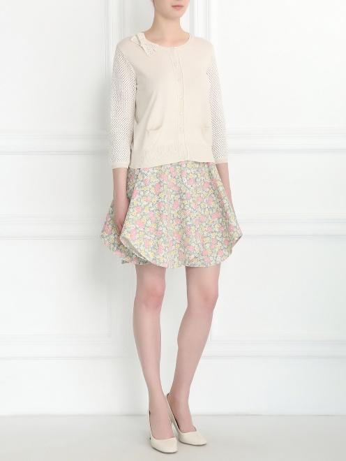 Кардиган из шелка и хлопка с плетеными рукавами - Общий вид