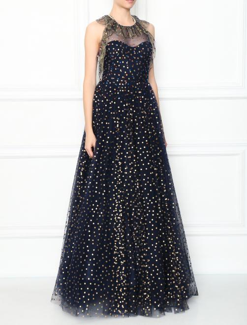 Платье-макси из сетки декорированное кристаллами - МодельВерхНиз