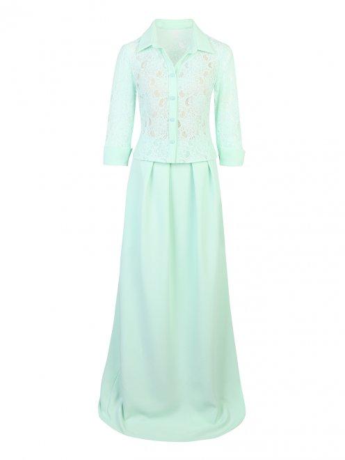 Костюм: блуза из кружева и юбка-макси со складками - Общий вид