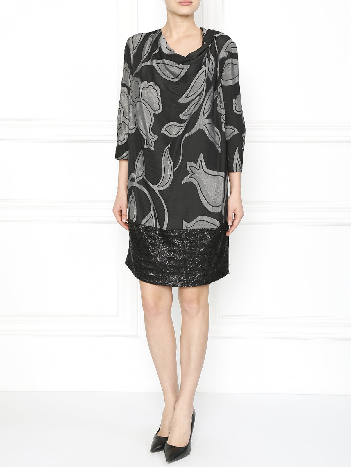 Платье с принтом декорированное пайетками Antonio Marras  –  Модель Общий вид  – Цвет:  Узор