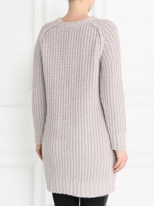 Удлиненный свитер из смесовой шерсти фактурной вязки - Модель Верх-Низ1
