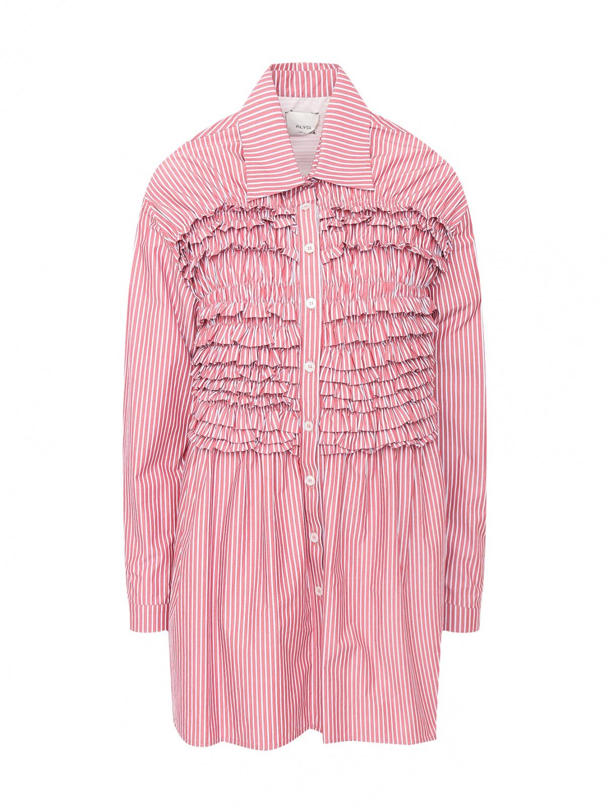 """Удлиненная рубашка из хлопка с узором """"полоска"""" Alysi  –  Общий вид  – Цвет:  Красный"""