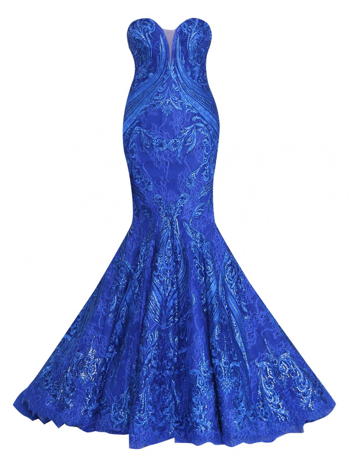 Платье с вышивкой, декорированное паетками Tony Ward  –  Общий вид  – Цвет:  Синий