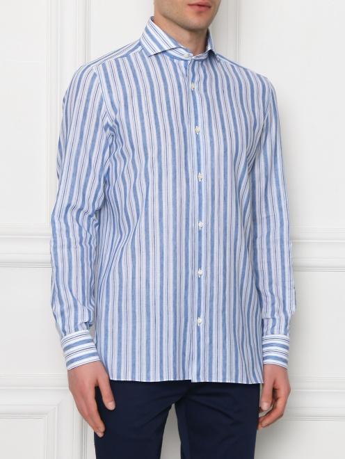Рубашка из хлопка и льна с узором полоска - МодельВерхНиз