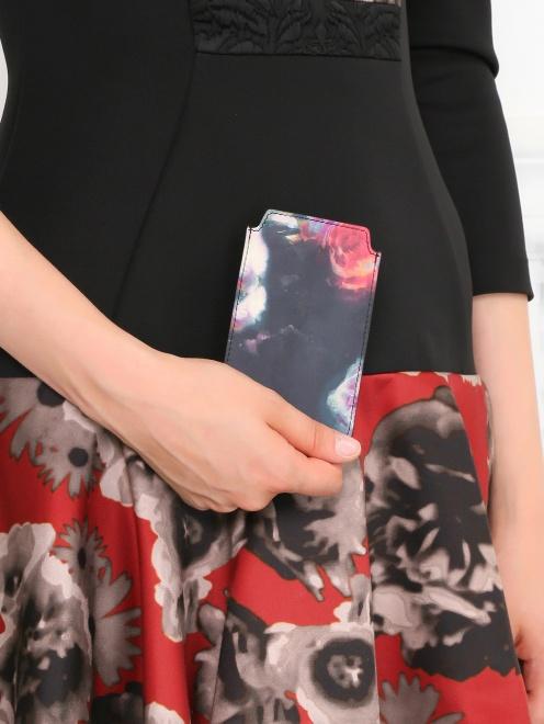 Чехол для IPhone 4 из кожи с цветочным узором - Модель Верх-Низ