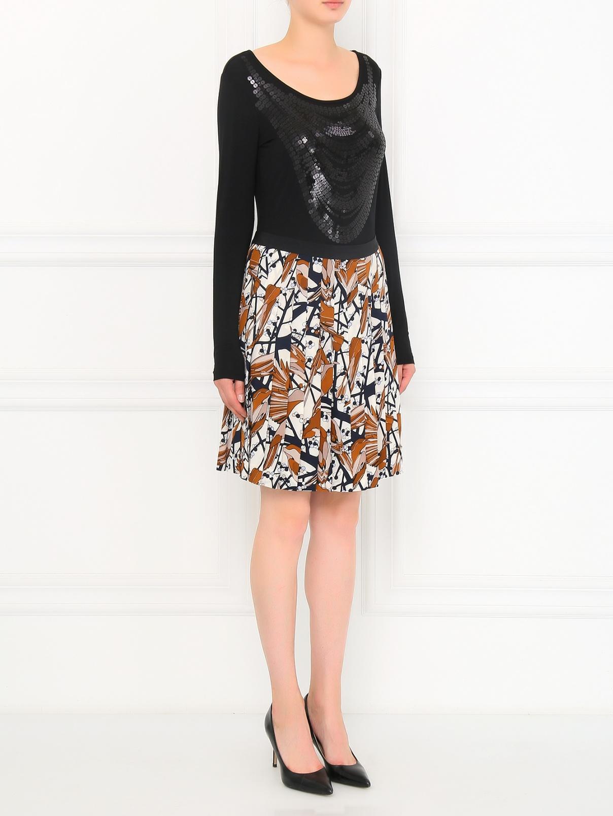 Юбка-мини из шелка с цветочным узором Marc by Marc Jacobs  –  Модель Общий вид  – Цвет:  Бежевый