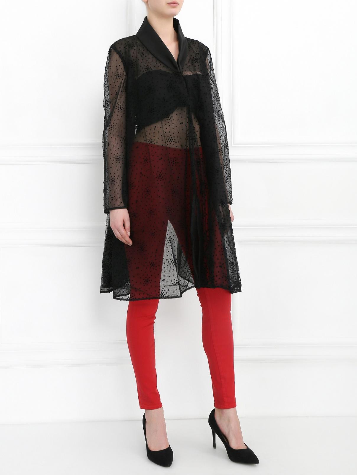 """Полупрозрачная блуза с узором """"горох"""" Mariella Burani  –  Модель Общий вид  – Цвет:  Черный"""