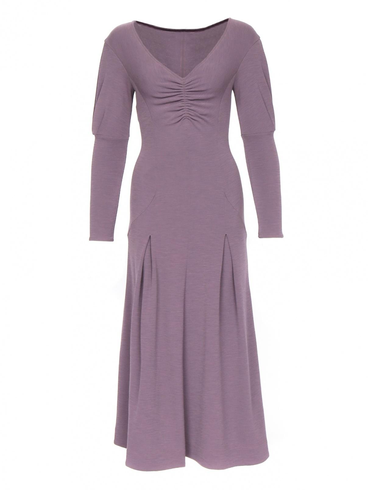 Платье-макси с длинным рукавом из шерсти Mariella Burani  –  Общий вид  – Цвет:  Фиолетовый
