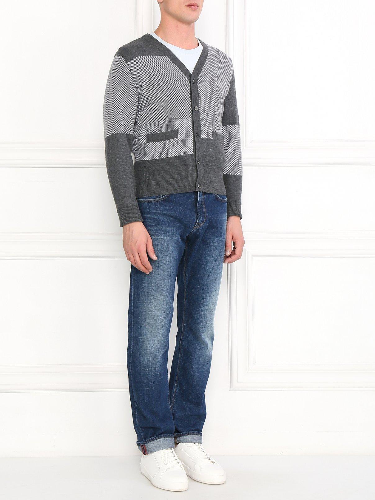 Кардиган из шерсти с узором Brooks Brothers  –  Модель Общий вид  – Цвет:  Серый