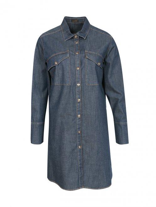 Удлиненная рубашка из денима - Общий вид