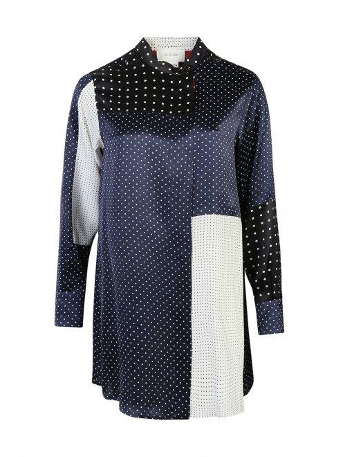 Блуза ассиметричного кроя из шелка в горох - Общий вид