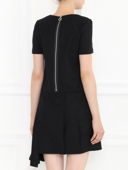 Платье-мини из шерсти с декоративной молнией  - Модель Верх-Низ1