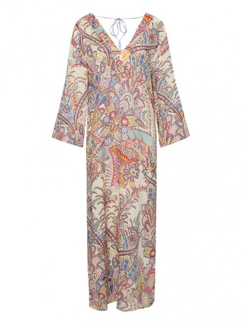 Платье из рами с принтом - Общий вид