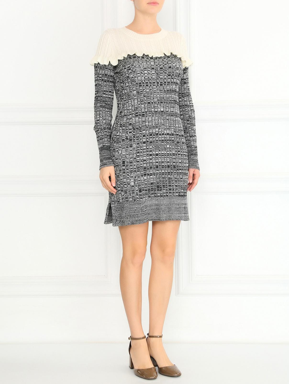 Трикотажное платье из шерсти фактурной вязки Philosophy Di Lorenzo Serafini  –  Модель Общий вид