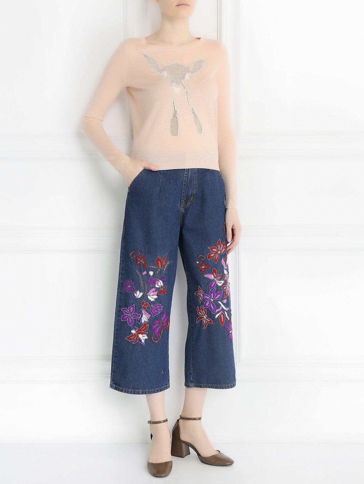 Джинсы прямого кроя с вышивкой Mad Almadal  –  Модель Общий вид  – Цвет:  Синий