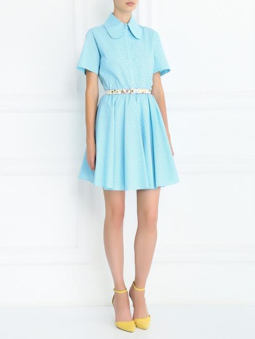 Платье-мини из хлопка с узором - Общий вид