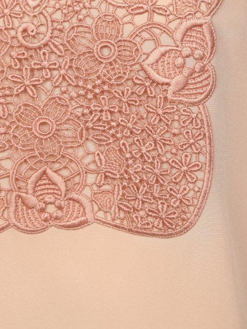 Блуза из шелка с ажурной вышивкой - Деталь