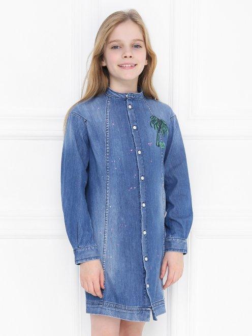 Платье-рубашка из денима - МодельВерхНиз