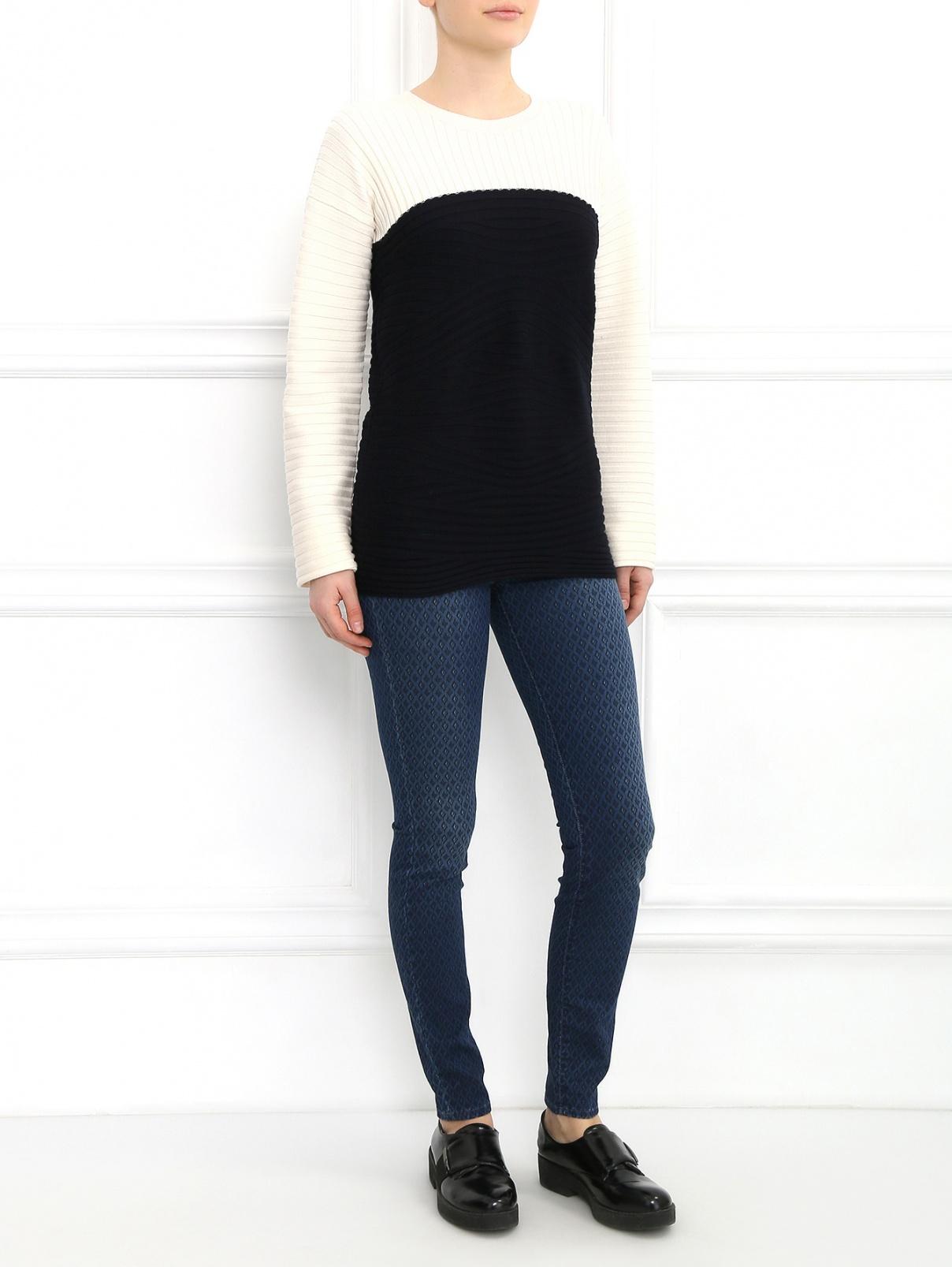 Узкие брюки с узором 7 For All Mankind  –  Модель Общий вид  – Цвет:  Синий