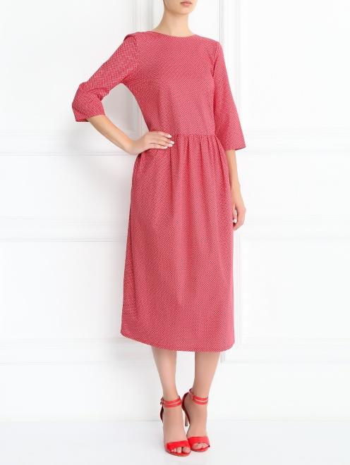 Платье-миди из хлопка с узором - Общий вид