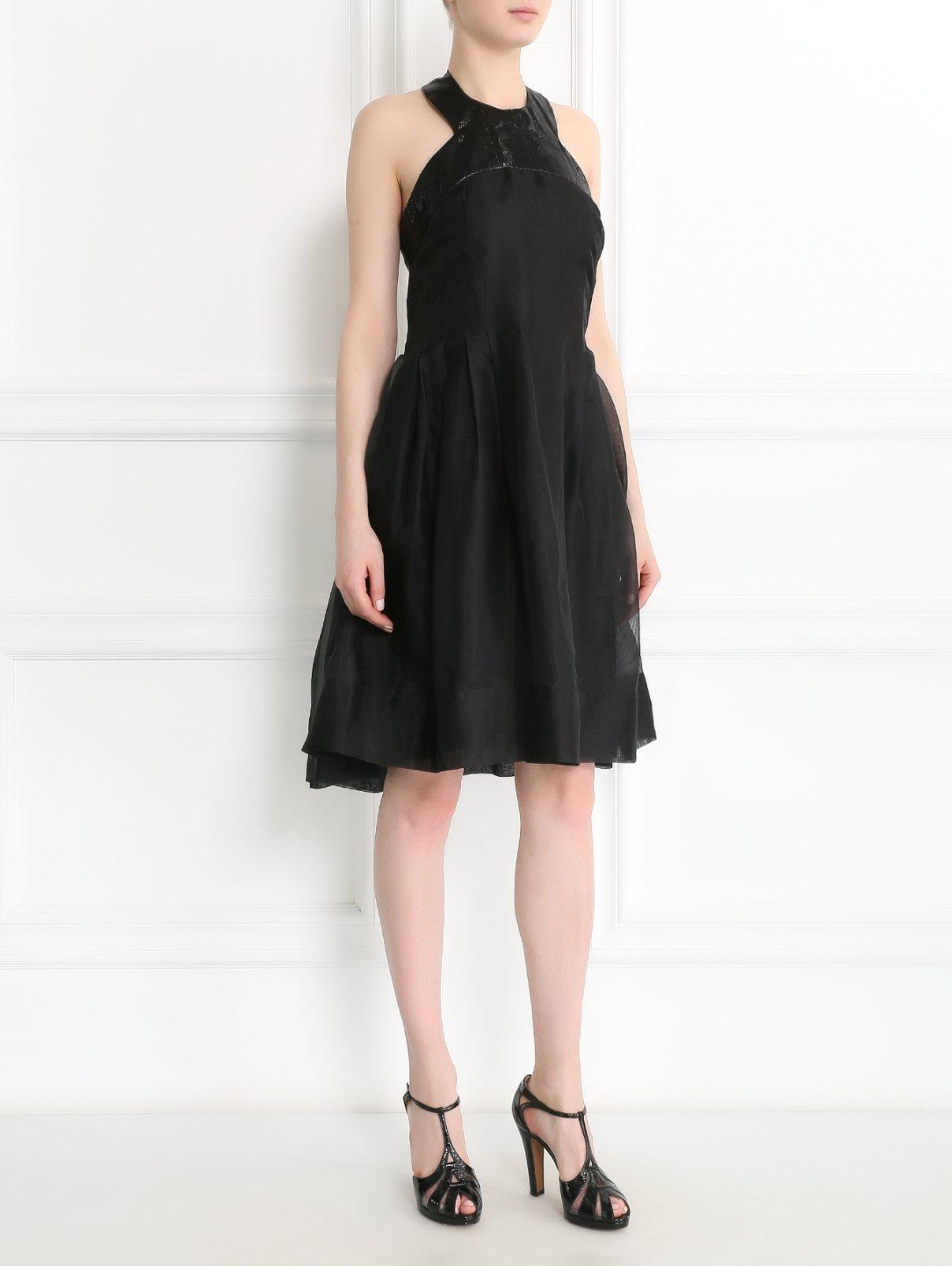 Платье из шелка Rue du Mail  –  Модель Общий вид  – Цвет:  Черный