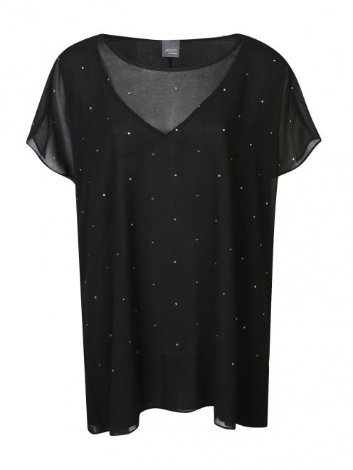 Блуза свободного кроя декорированная стразами  - Общий вид