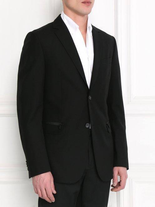 Пиджак однобортный из тонкой шерсти - Модель Верх-Низ