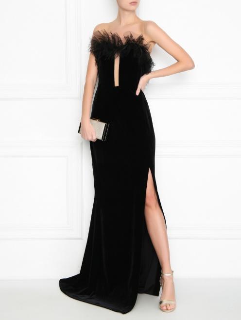 Бархатное платье-макси без рукавов - Общий вид