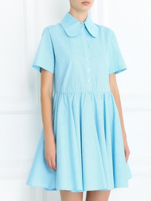Платье-мини из хлопка с узором - Модель Верх-Низ