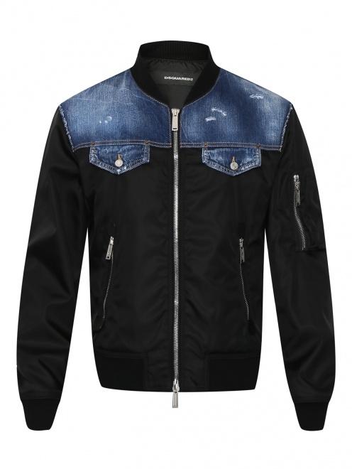 Куртка со вставкой из денима - Общий вид