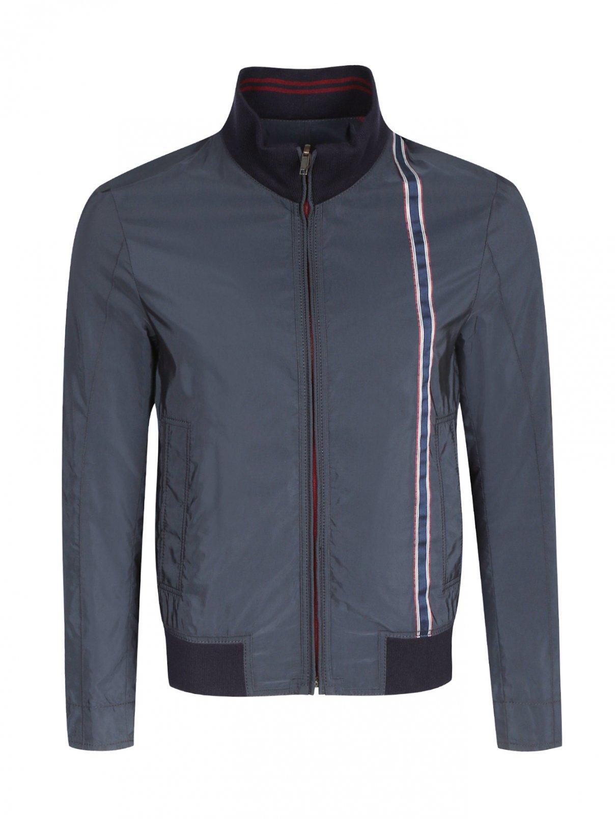 Куртка на молнии с контрастной вставкой BOSS  –  Общий вид  – Цвет:  Синий