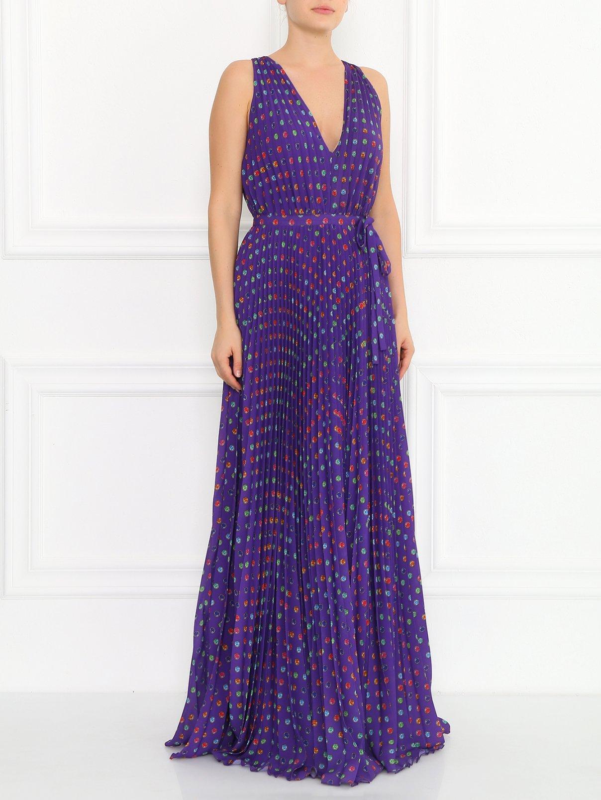 Плиссированное платье-макси с узором Moschino Boutique  –  Модель Общий вид  – Цвет:  Узор