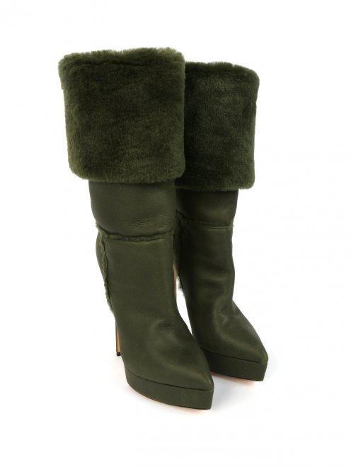 Зимние сапоги из кожи на высоком каблуке и с меховым отворотом - Общий вид