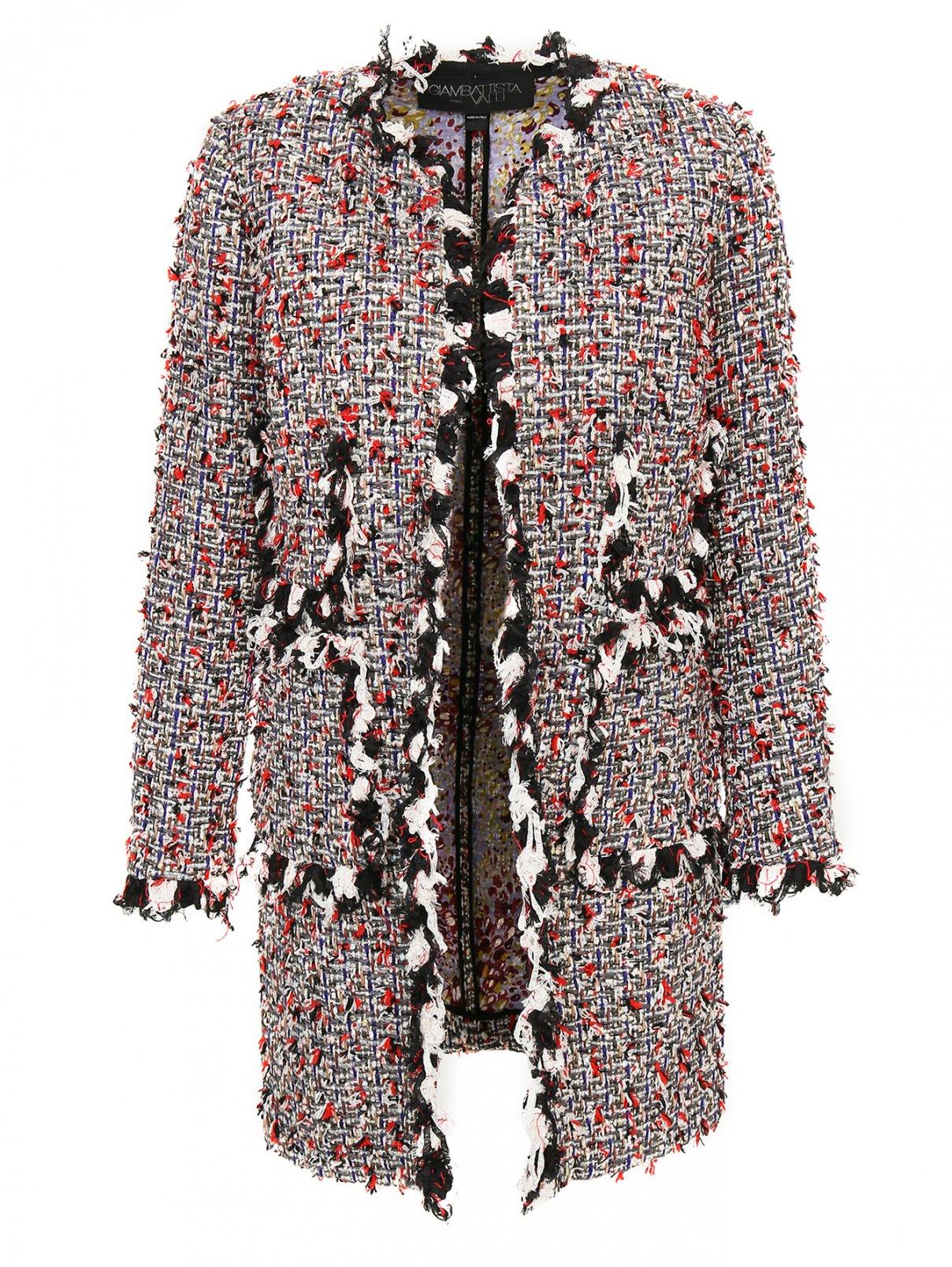 Пальто из смесовой шерсти с узором и декоративной отделкой Giambattista Valli  –  Общий вид  – Цвет:  Узор