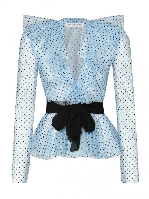 Блуза из кружева с принтом и жабо - Общий вид