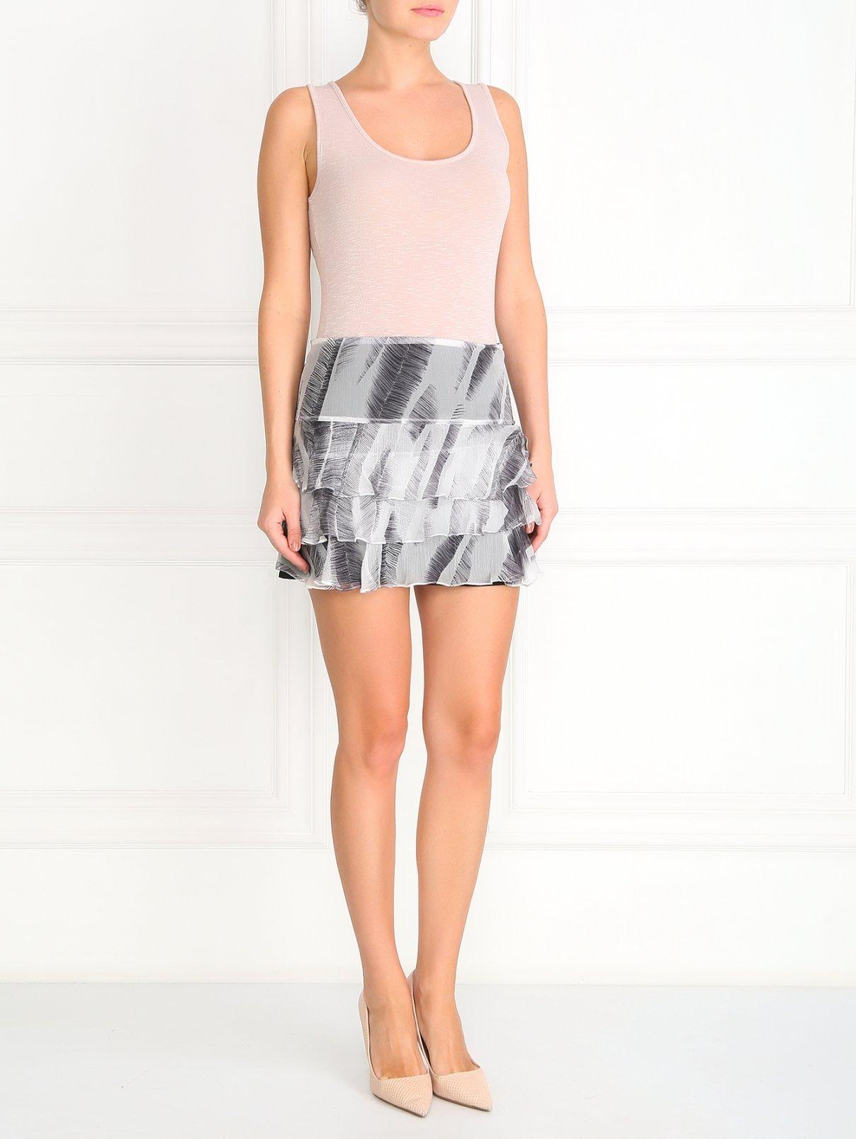 МИни-юбка из шелка с узором athe  –  Модель Общий вид  – Цвет:  Серый