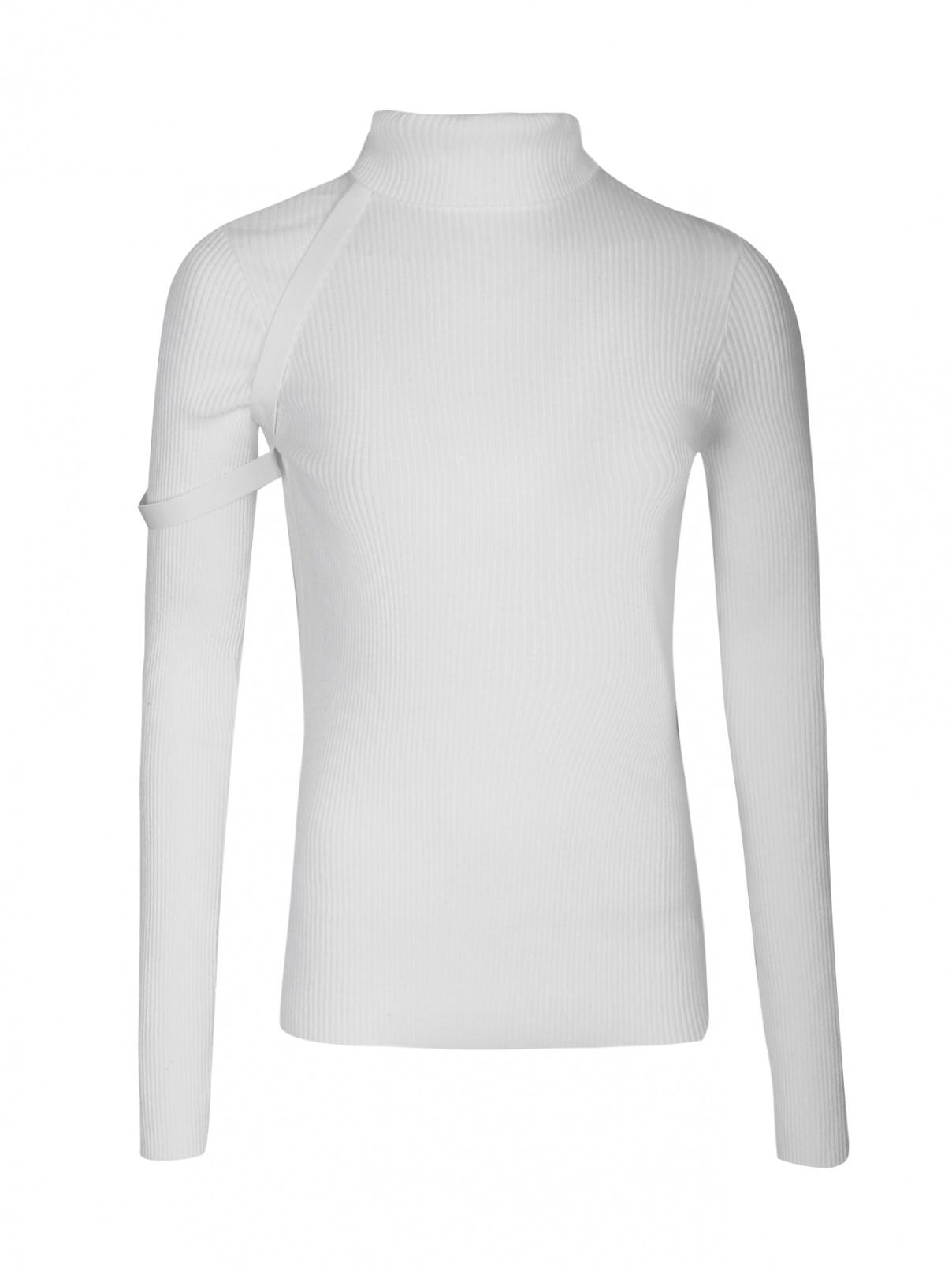 Трикотажная водолазка из хлопка с декором Helmut Lang  –  Общий вид  – Цвет:  Белый