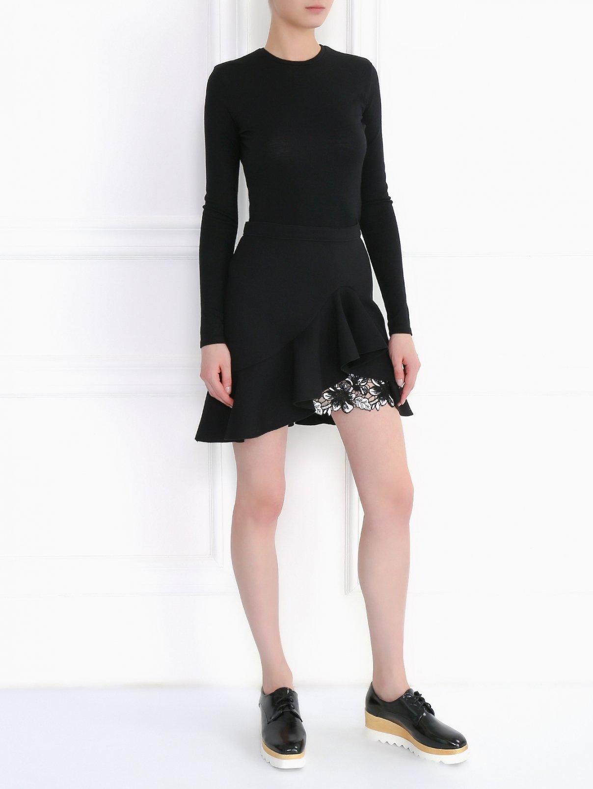 Юбка-мини из вискозы и хлопка с декоративной отделкой Giambattista Valli  –  Модель Общий вид  – Цвет:  Черный