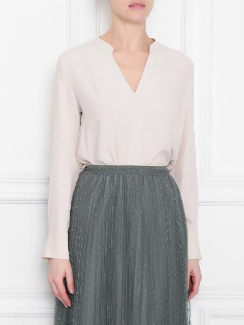 Блуза из смессового шелка с v образным вырезом  - МодельВерхНиз