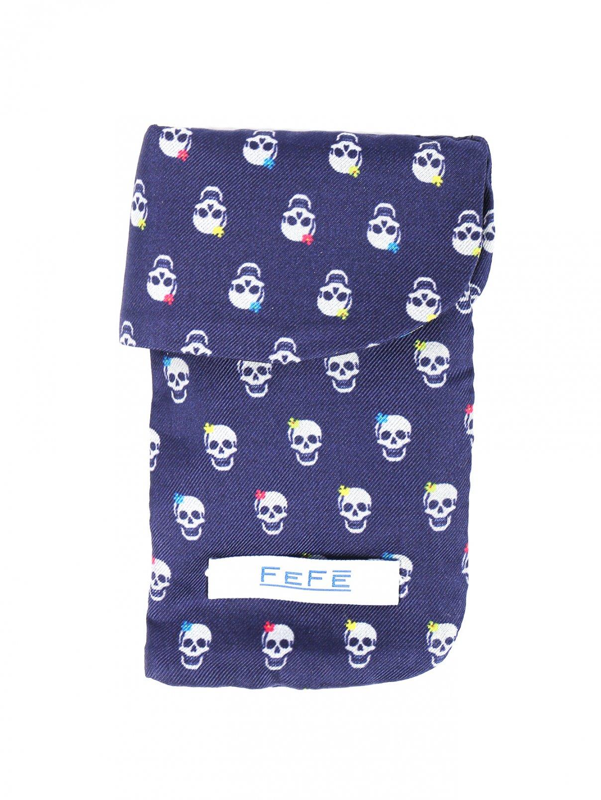 Чехол для IPhone из шелка с узором Fefe  –  Общий вид  – Цвет:  Синий