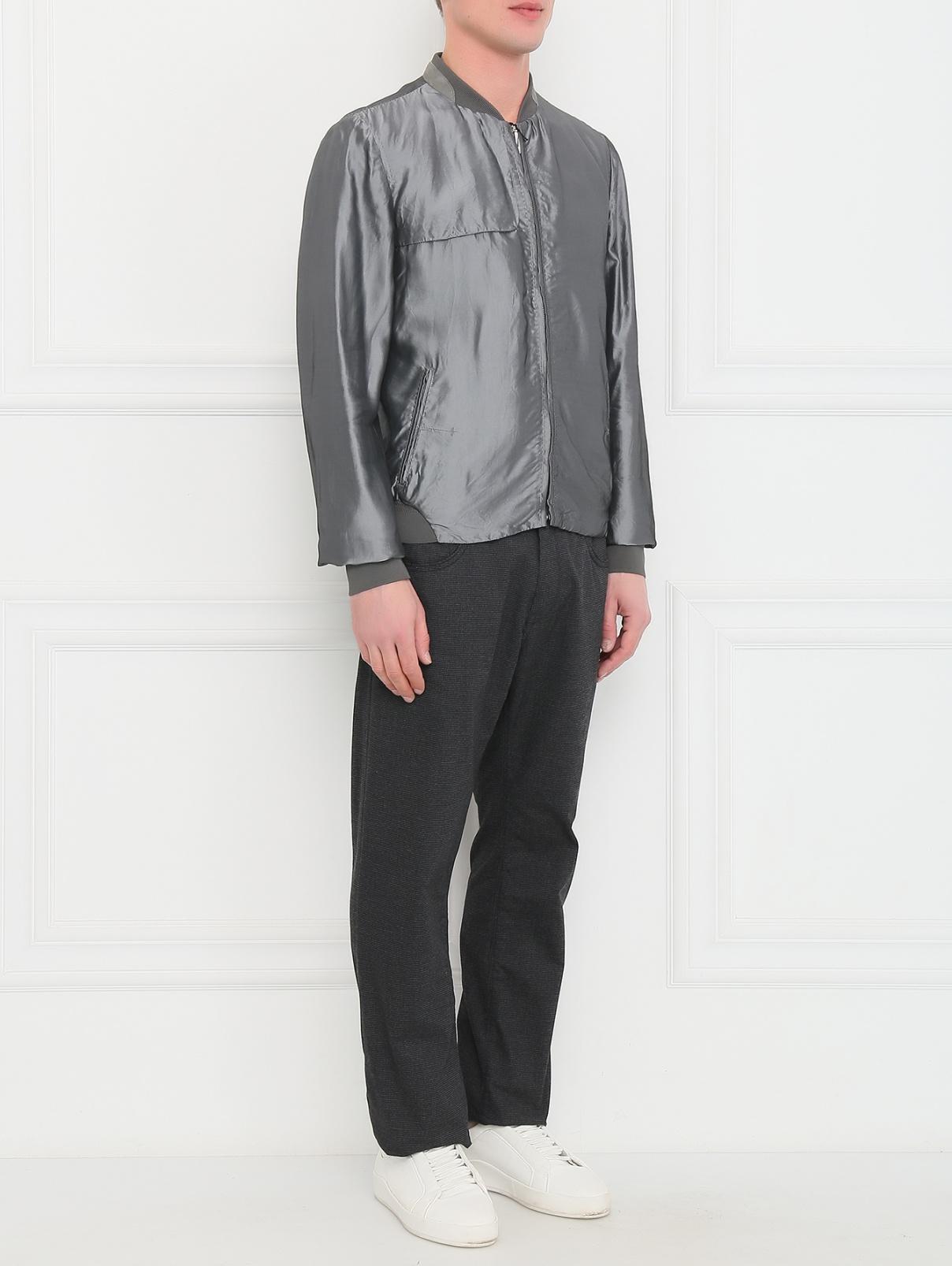Куртка-бомбер на молнии с боковыми карманами Costume National  –  Модель Общий вид  – Цвет:  Серый