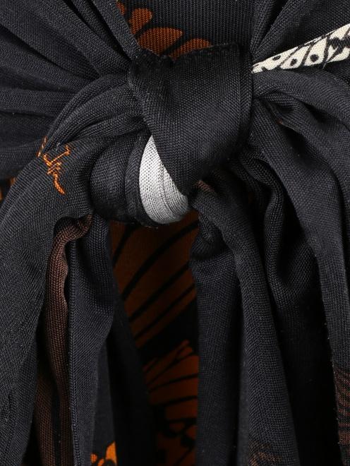 Платье-мини из шелка с узором и драпировкой  - Деталь