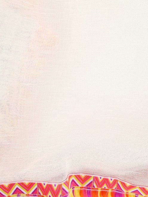 Шарф из модала и льна с контрастными вставками - Деталь