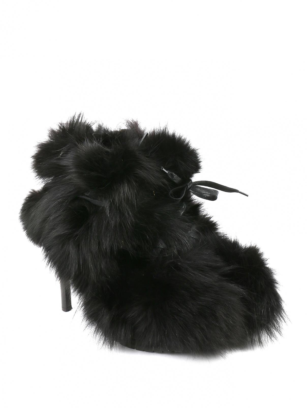Ботильоны из кожи с меховой отделкой Moschino Cheap&Chic  –  Общий вид  – Цвет:  Черный